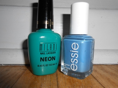 Milani Fresh Teal and Essie Coat Azure