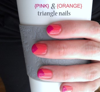 purple and orange triangle nails