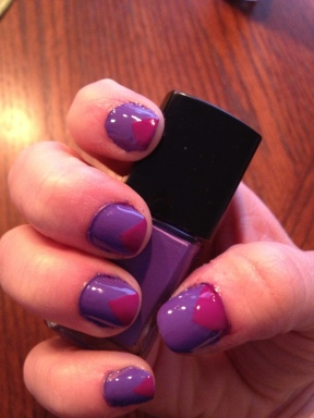 purple and purple triangle nails