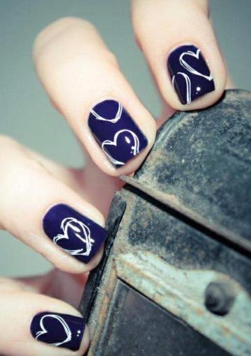 navy nails hearts