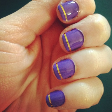 purple and gold nails striping tape