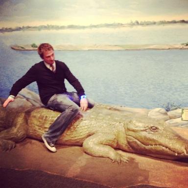 Just ridin' an Egyptian crocodile/alligator.