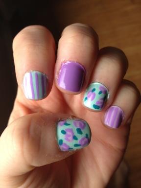 mixed print floral nails