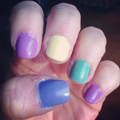 mixed brights nails - hannahshaner.com